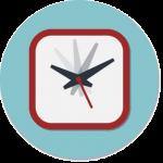 We hebben tijd: sticker met klok waarvan de wijzers in beweging zijn.