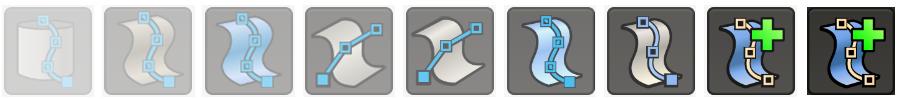 De negen stappen die het ontwerpproces weergeven van schets naar definitief icoon.