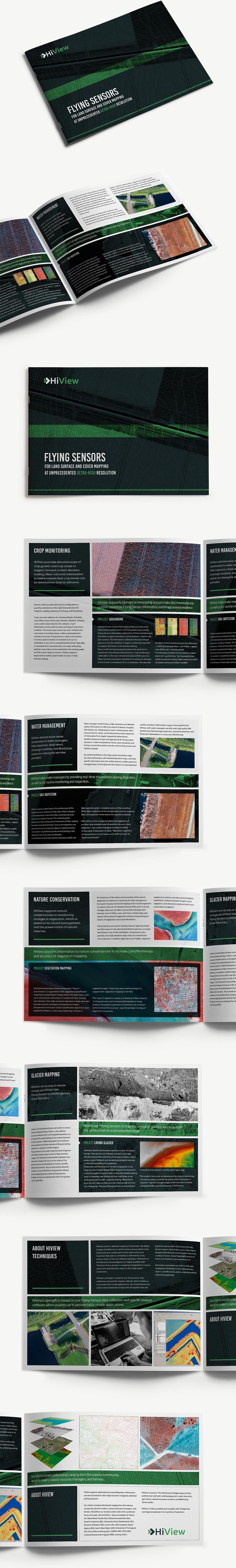 Grafisch ontwerp en DTP van beurs brochure voor HiView A4 oblong. 3D mockup.