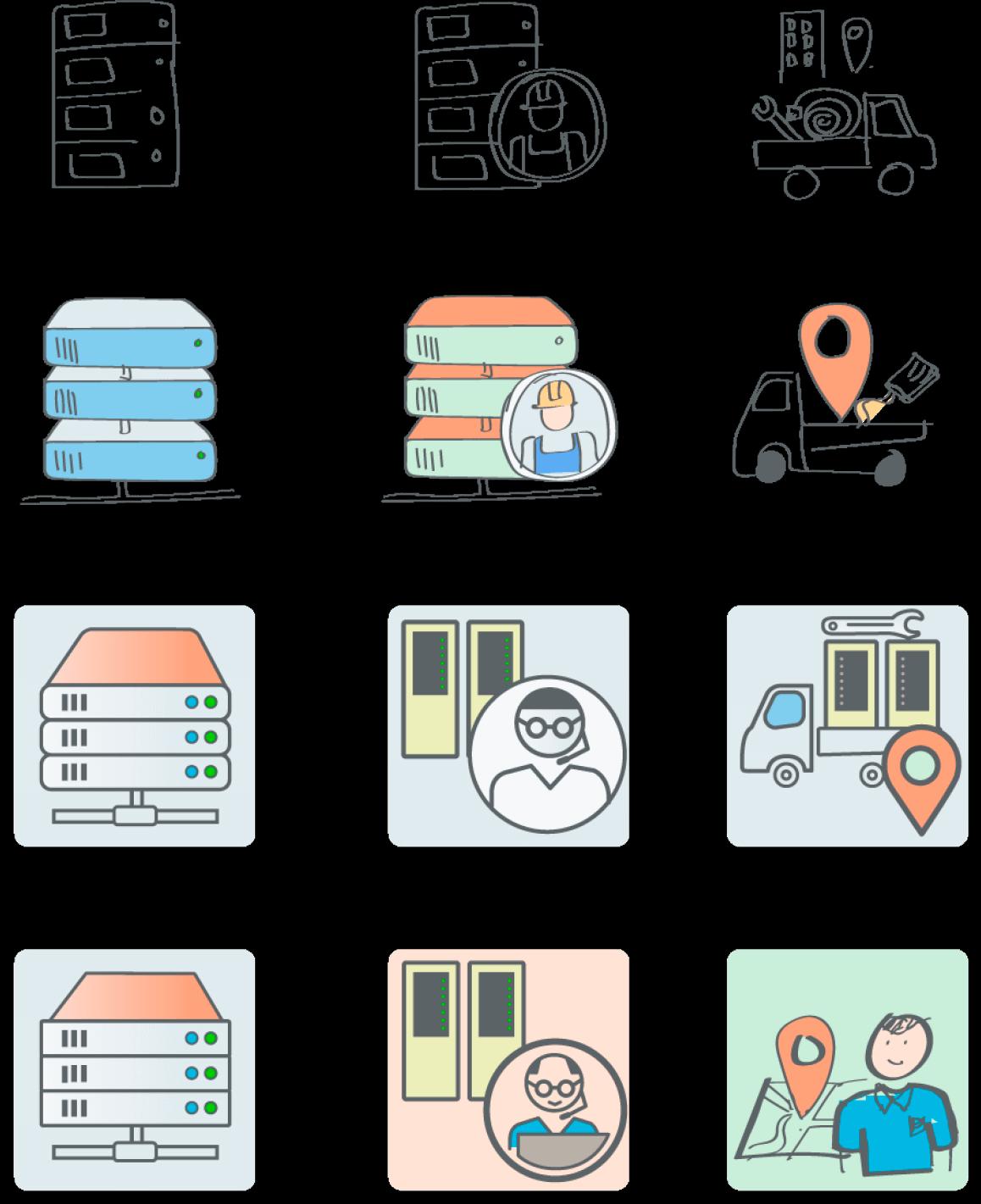 Voortgangs-schetsen IT iconen, diverse stadia van schets naar eindresultaat.