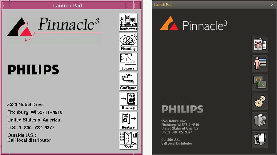 Welkoms scherm van het Philips Pinnacle3 programma. Links het oude ontwerp, rechts het nieuwe.