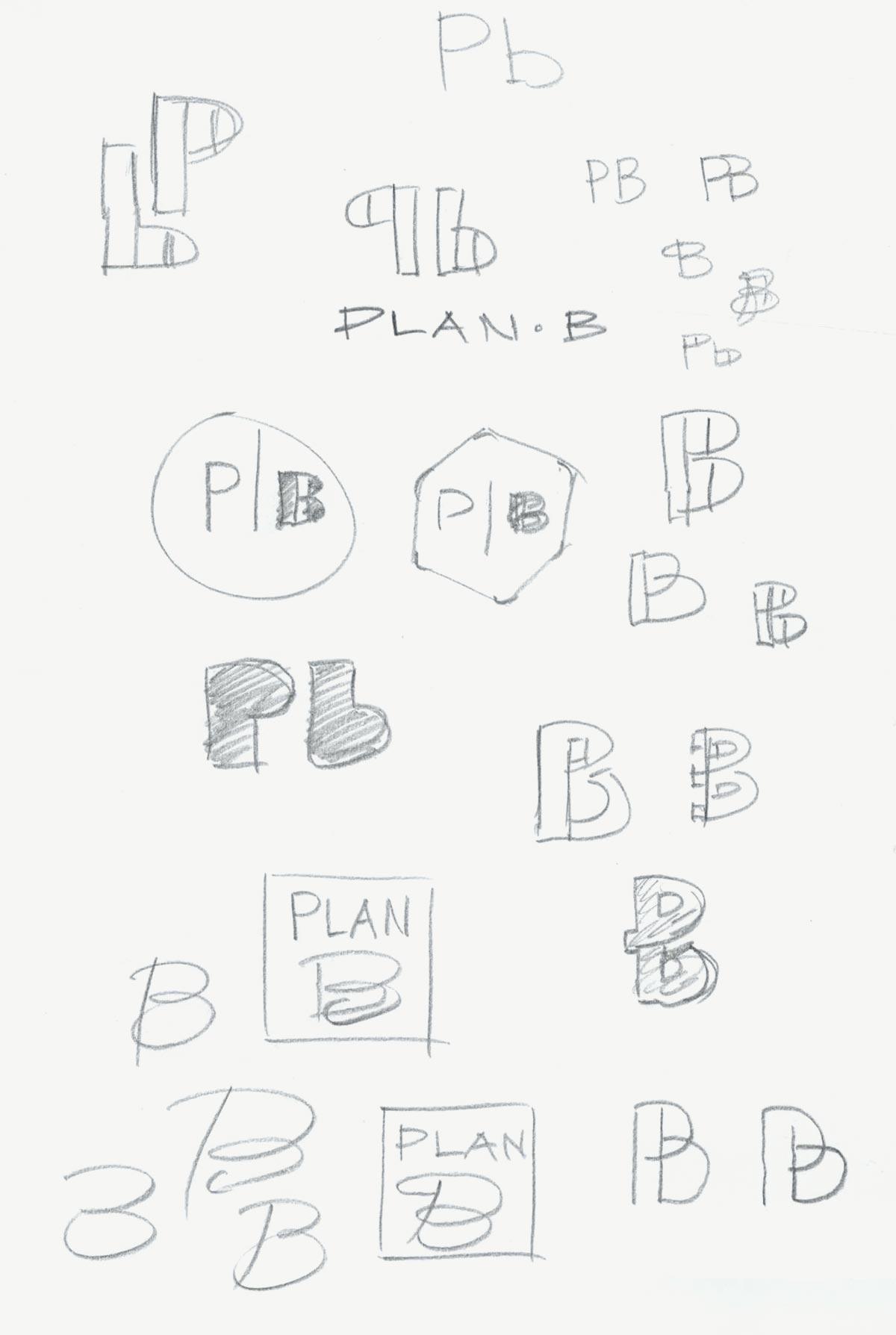 Potloodschets logo onderzoek ontwerp Plan-B