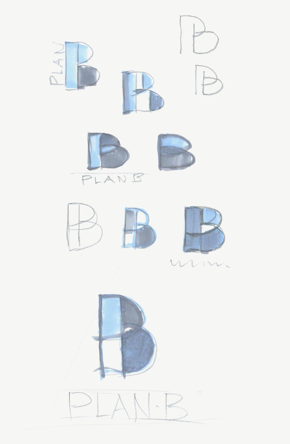 Ontwerpschetsen Plan B logo potlood ingevuld met markerstift
