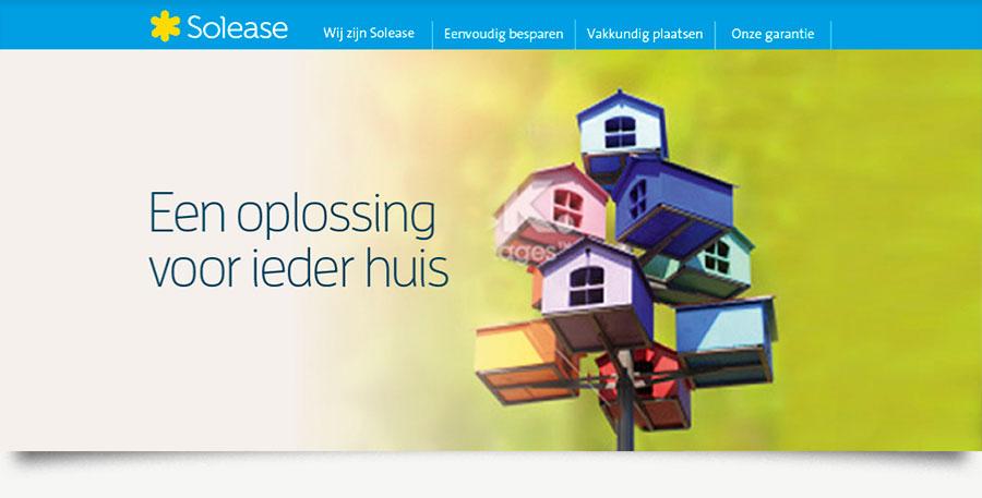 """Solease concept """"Een oplossing voor ieder huis"""" met toren bond gekleurde vogelhuisjes."""