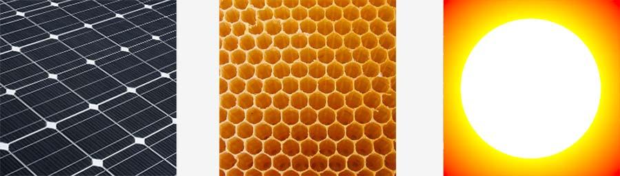 Zonnecel panelen - gele honingraad - zonnegloed. Techniek, natuur, energie.