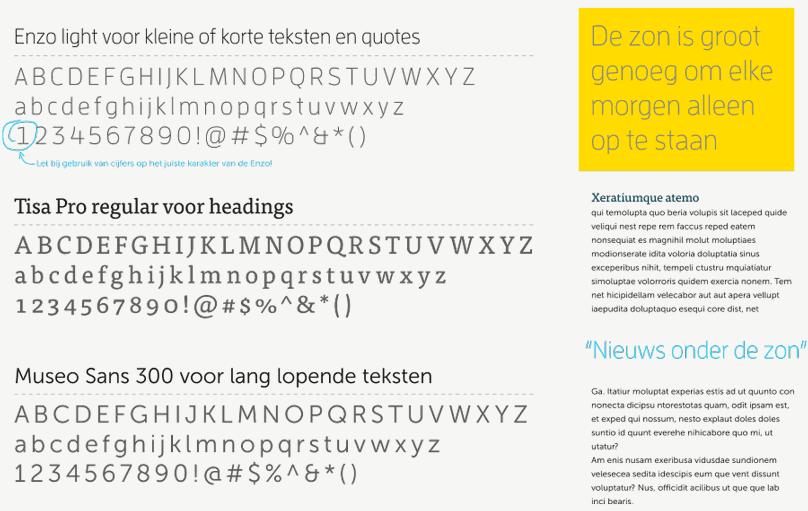 Voorbeeld typografie gebruik