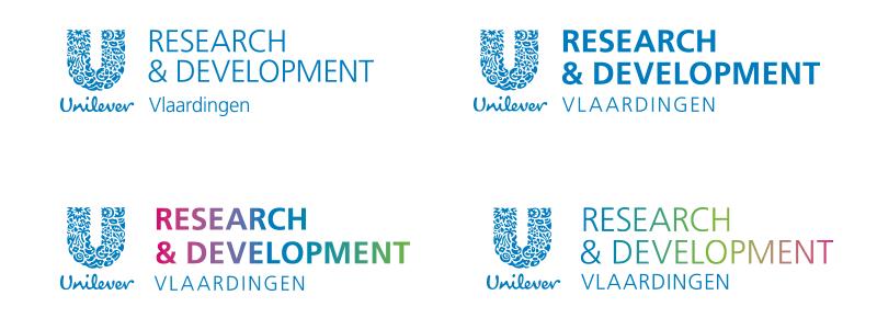 Vier verschillende logo voorstellen voor het onderdeel Research en Development Vlaardingen