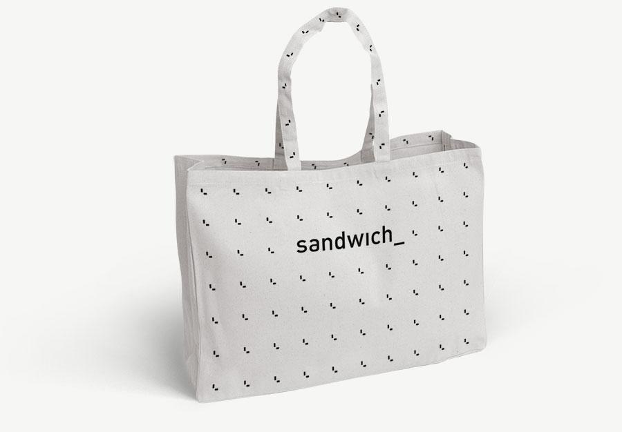 Sandwich natuurlijk katoenen shopper Bag met hengsels uitgevoerd in licht grijs.