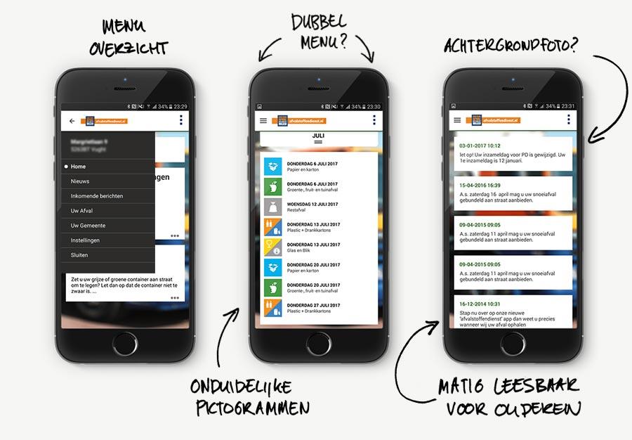 Drie schermen met overzicht van de app