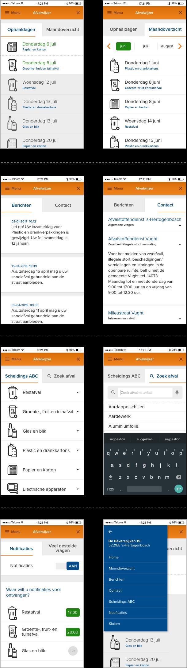 Acht schermen met nieuwe User Interface UX