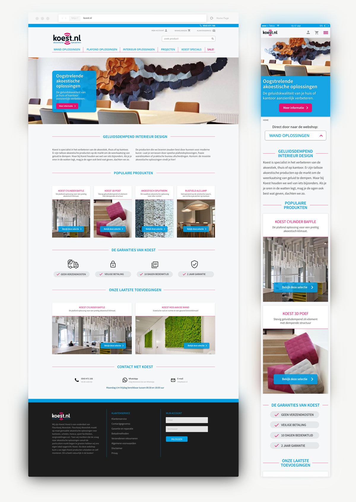 Volledig overzicht van koest webshop frontpage met mobiele versie