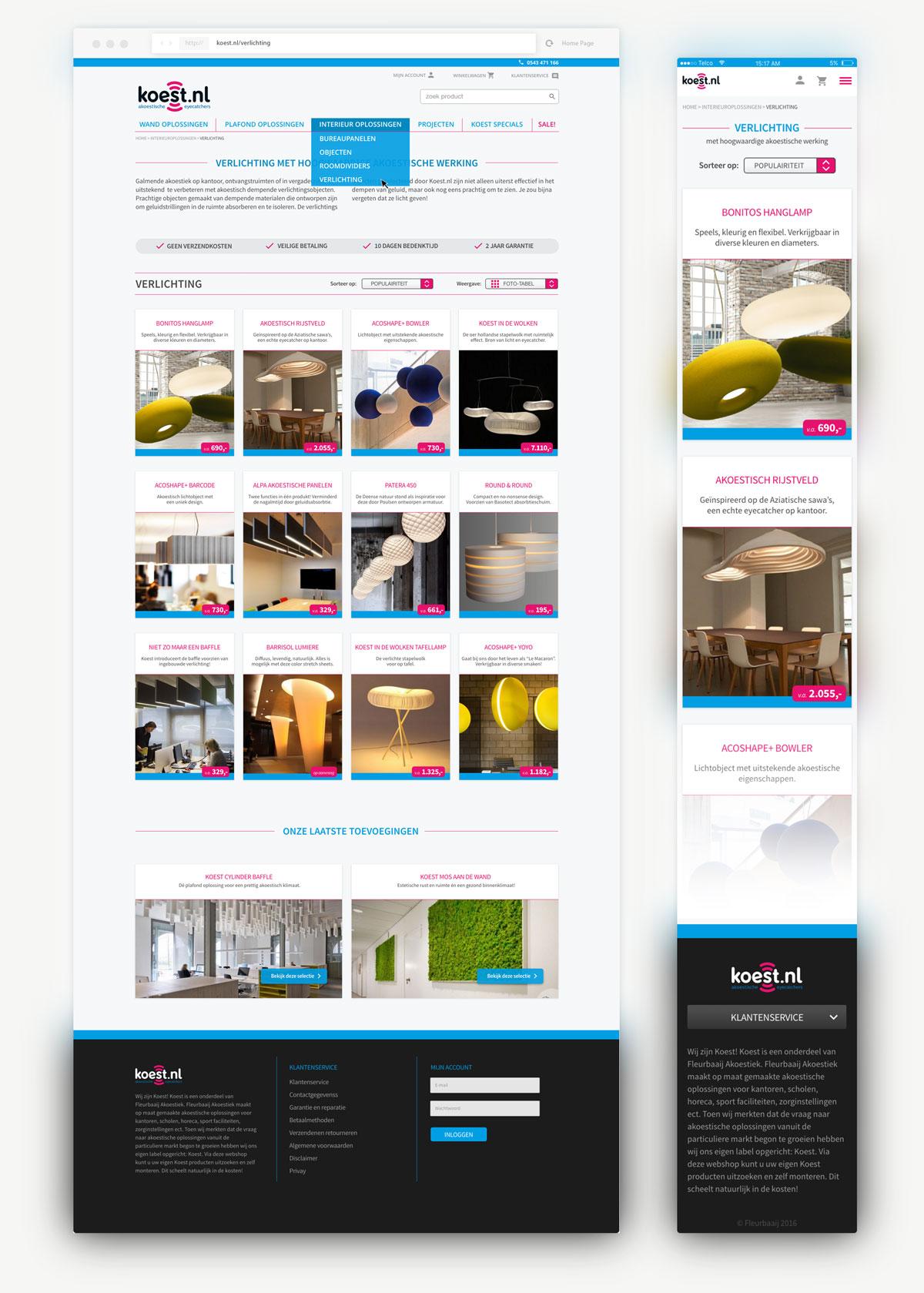 Overzicht van ontwerp desktop en mobile overzichtspagina verlichting met kleurrijke elementen.
