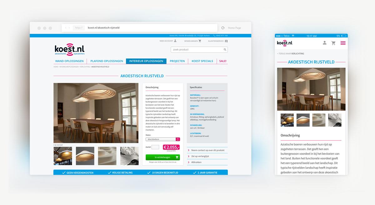 Detail van productpagina op desktop en mobile scherm.