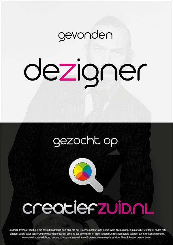 Campagne poster voor CreatiefZuid.nl Dezigner
