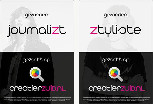 Campagne posters voor CreatiefZuid.nl