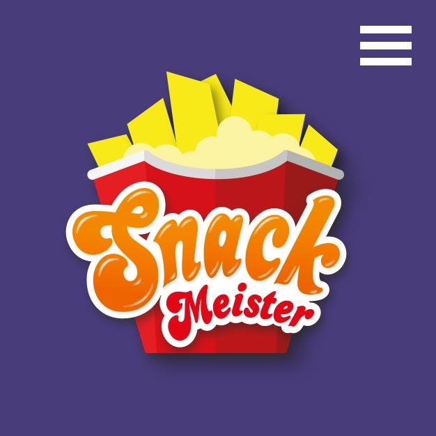 Snackmeister logo illustratie van een rood frietbakje met dikke frieten en mayonaise.